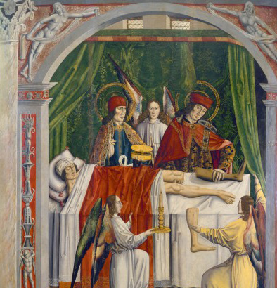 L0019549 A verger's dream: Saints Cosmas and Damian performing a