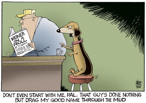 weiner on a roll cartoon