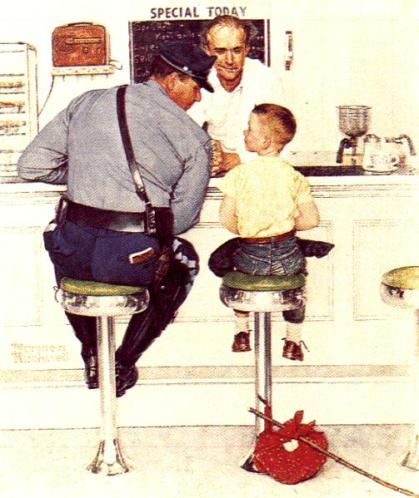 norman rockwell cop painting